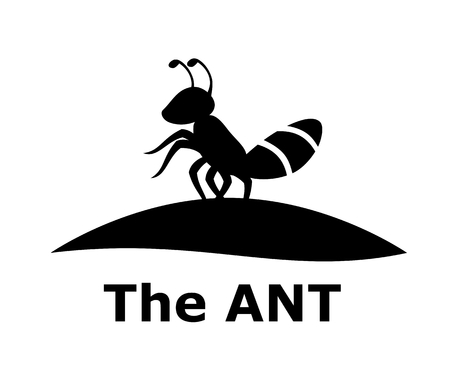 silhouette of black ant small animal stand on land logo design idea concept