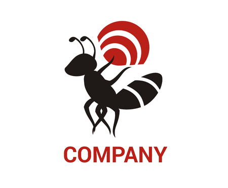 wireless black ant bug insect pest animal nature wildlife logo design idea concept illustration 向量圖像