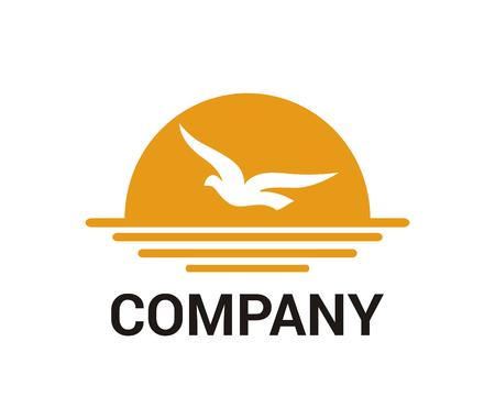 sea bird fly animal wildlife fauna wing in sky freedom bird feather logo idea design illustration concept in afternoon with orange sun flight over ocean up on sea