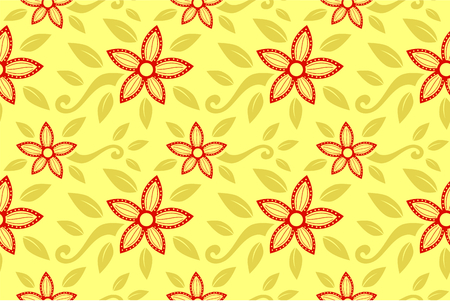 ethnic line art red color jasmine flower pattern ornament for backdrop design illustration with brown color background