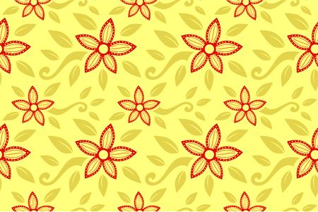 ethnic line art red color jasmine flower pattern ornament for backdrop design illustration with brown color background