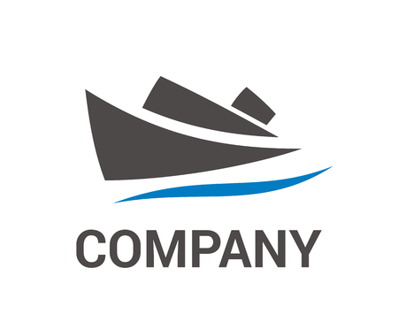 El barco navega sobre el agua de mar en el ejemplo del logotipo del estilo del diseño plano del viaje
