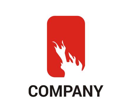 heat hot burn flare flame in white silhouette logo design idea concept Banco de Imagens - 106829232