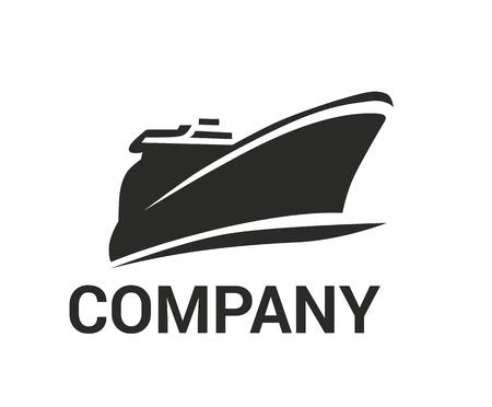 buque logístico para el envío, importación, exportación, comercio, navegar sobre el océano, diseño plano, estilo, logotipo, ilustración