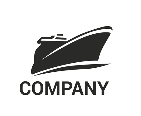 logistic ship for shipping import export trade sail over ocean flat design style logo illustration 向量圖像