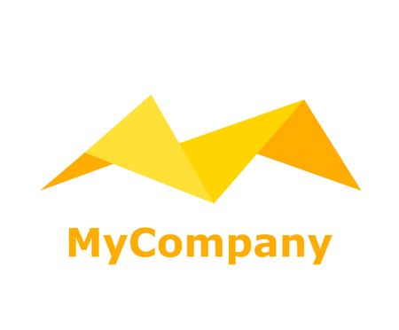 logo design idea concept illustration from letter M shape with yellow color