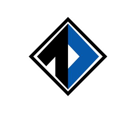 modern clean black blue color square logo design illustration with flat design style Illustration
