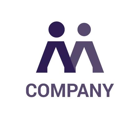 Letra m forma de alfabeto de dos personas mezcla ilustración del concepto de diseño de logotipo corporativo Logos