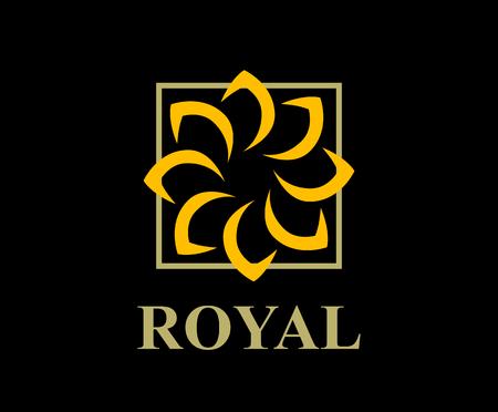 gold color royal lotus flower for health luxury industry logo idea design illustration Illustration