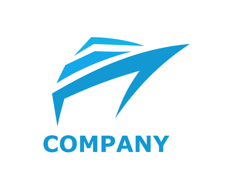 logistic ship for shipping import export trade sail over ocean line art flat design style logo illustration with blue color