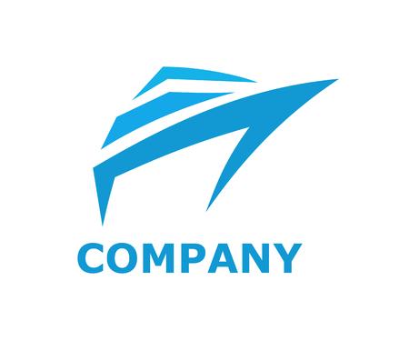 Navire logistique pour l'expédition import export commerce voile sur océan ligne art design plat style logo illustration avec couleur bleue
