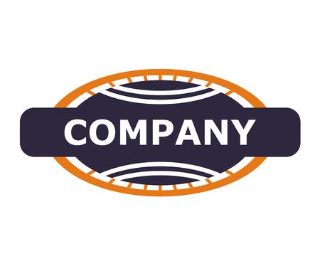 purple and orange color oval world stamp logo design illustration template. vintage stamp style. shape like globe world map with orbital road.  イラスト・ベクター素材