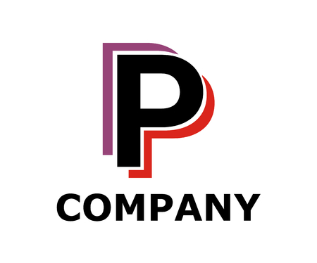 pink and purple color logo symbol double line like neon light type letter p initial business logo design idea illustration shape for modern premium corporate