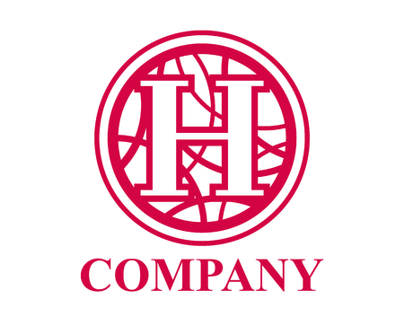 pink color logo symbol type letter h initial business logo design idea illustration shape in circle with beautiful curvy oval line art for premium corporate
