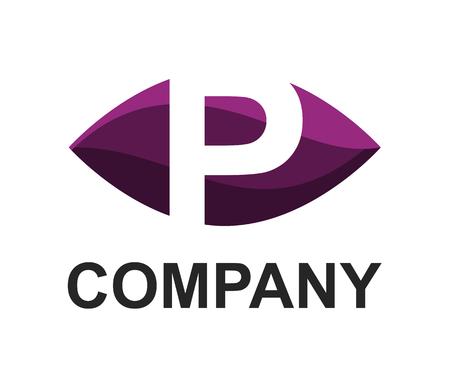 purple violet color logo symbol alphabet in oval like eye type letter p initial business logo design idea illustration shape for modern premium corporate