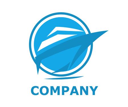 Navire logistique pour l'expédition import export commerce voile sur l'océan ligne art design plat style logo illustration avec la couleur bleue en cercle