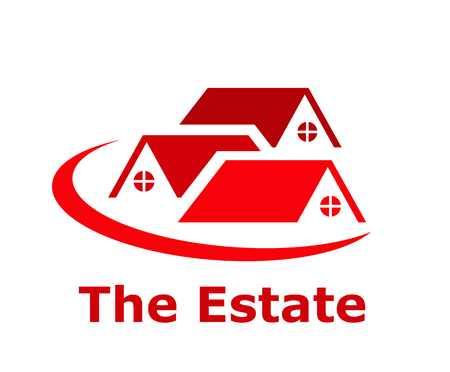 three red color roof of residential house architecture logo design idea illustration concept with slice circle