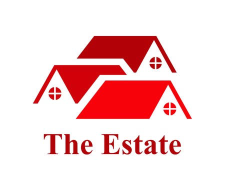 three red color roof of residential house architecture logo design idea illustration concept