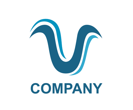 letter v alphabet shape from water color ink brush line draw modern iconic logo design illustration with blue color