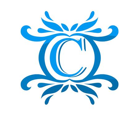 cielo azul de lujo hermoso de lujo elegante de la vendimia del remolino o el diseño de la plantilla del logotipo del monograma del diseño con el caos hermoso para el diseño de la empresa en la letra c letras c