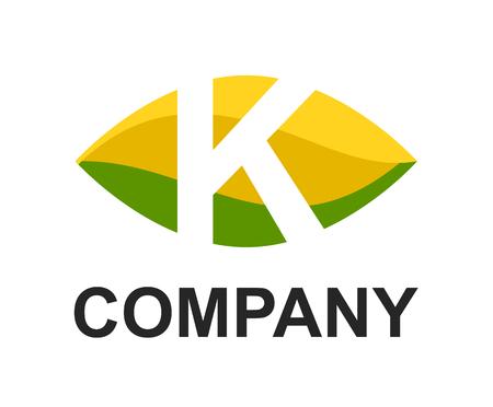 green yellow lime color logo symbol alphabet in oval like eye type letter k initial business logo design idea illustration shape for modern premium corporate