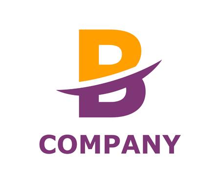 orange and purple color logo symbol slice type letter b by blade initial business logo design idea illustration shape for modern premium corporate Vectores