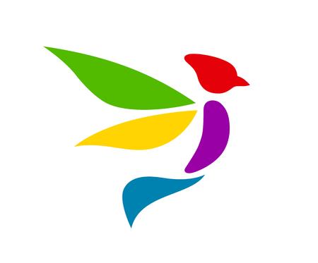 colorful color logo design illustration for flight or wildlife company bird animal silhouette flat design style  イラスト・ベクター素材