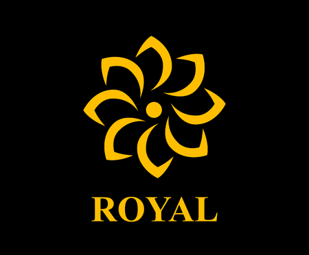 gold color royal lotus flower for health luxury industry logo idea design illustration  イラスト・ベクター素材