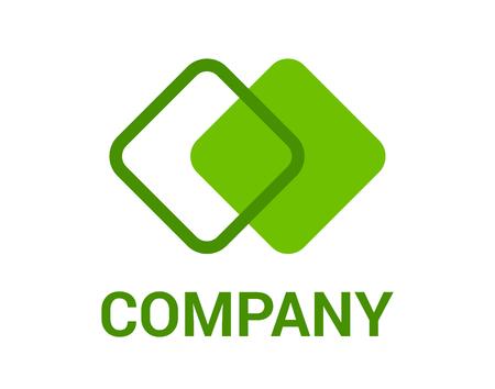 Illustration de conception de logo de couleur verte deux forme abstraite de la ligne de rectangle de bloc carré pour entreprise d'architecture d'entreprise Logo