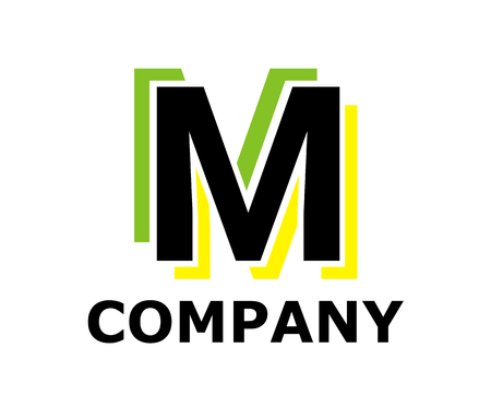 green and yellow color logo symbol double line like neon light type letter m initial business logo design idea illustration shape for modern premium corporate
