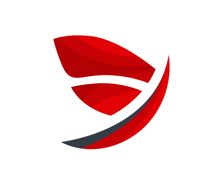 red color logo design illustration corporate shape like wing feather silhouette for flight company or corporate or freedom symbol