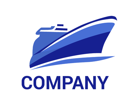 logistic ship for shipping import export trade sail over ocean flat design style logo illustration with blue color Ilustração