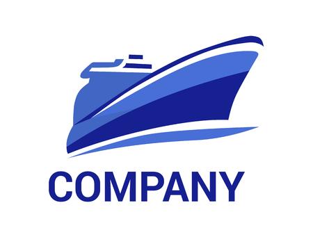 nave logistica per la spedizione import export trade vela sopra l'oceano design piatto stile logo illustrazione con colore blu