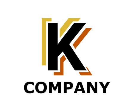 gold and brown color logo symbol double line like neon light type letter k initial business logo design idea illustration shape for modern premium corporate