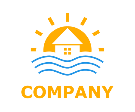 orange colo logo design idea illustration for resort hotel business company on beach or bay shape like sunset