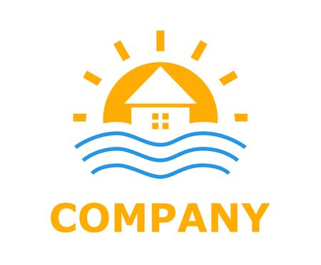 orange colo logo design idea illustration for resort hotel business company on beach or bay shape like sunset