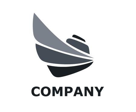 nave da viaggio logistico per la spedizione import export trade vela sopra l'oceano design piatto stile logo illustrazione con colore grigio nero