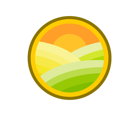 circle sunset landscape land sea havana with moon iconic design badge logo for sticker or label of corporate or community nature camp with modern flat design illustration style
