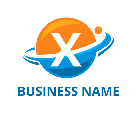 orange and light blue color planet circle get slice into half logo graphic design with modern clean style for protection or security company with initial type letter x on it Illustration