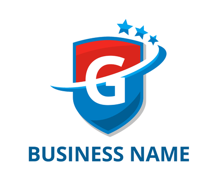 blue and red color shield get slice into half logo graphic design with modern clean style for protection or security company with initial type letter g on it Logó