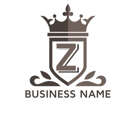 grey color beautiful simple luxury classic vintage swirl or floral shield border logo design template with initial name of business company on it type letter z