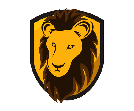 brown color lion head silhouette in shield logo design illustration with line art style for premium sport team