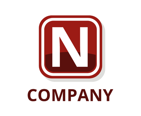 red blood color glasses square box button web logo graphic design with modern clean style for any professional company with initial type letter n on it