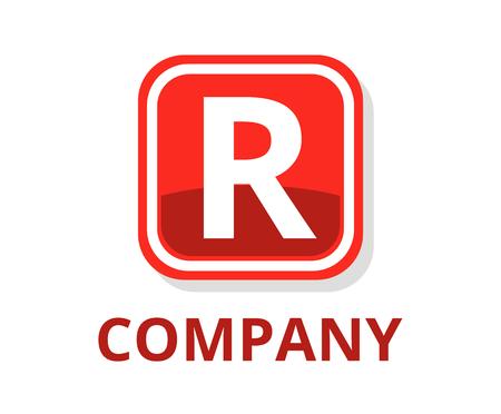 conception graphique de logo web bouton boîte carrée lunettes de couleur rouge avec un style moderne et propre pour toute entreprise professionnelle avec la lettre de type initiale r dessus