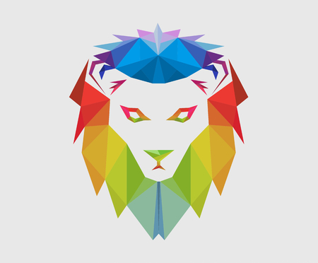 colorful color lion head silhouette logo design illustration with triangular style for premium corporate