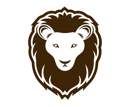 brown color lion head silhouette logo design illustration with line art style for premium sport team Ilustração