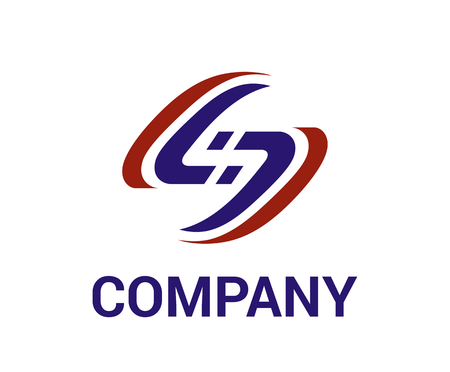 road track for racing with red and blue color logo design idea illustration concept shape line art like letter s for premium corporate Illusztráció