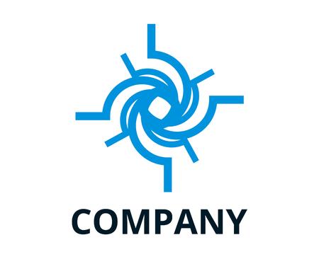 forme de cyclone de couleur bleue à partir de la ligne comme illustration de conception de logo de trou noir pour entreprise de technologie, entreprise de sécurité ou toute utilisation.