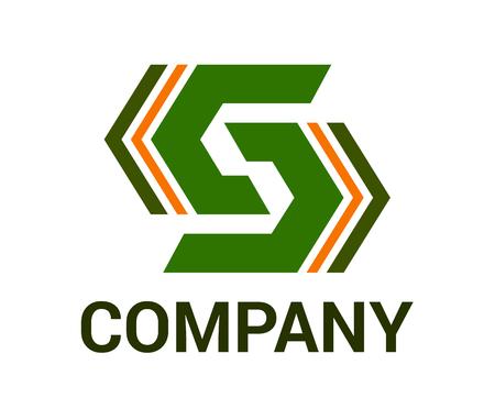 Couleur verte et orange flèche générique marque abstraite symbole logo design idée concept illustration pour entreprise d'architecture, technologie d'entreprise ou toute utilisation. lettre de forme s