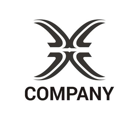 黒色の抽象的な部族の線画のロゴのデザインイラストは、文字xのような伝統的な民族部族のパターン形状のように感じる